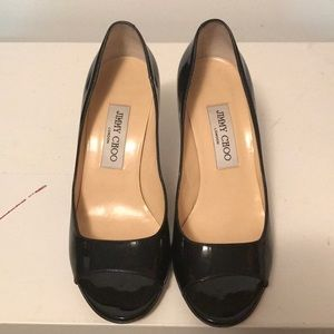 Jimmy Choo black & gold tone patent leather pumps